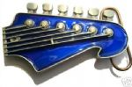 LEAD GUITAR HEADSTOCK (BLUE) Belt Buckle + display stand